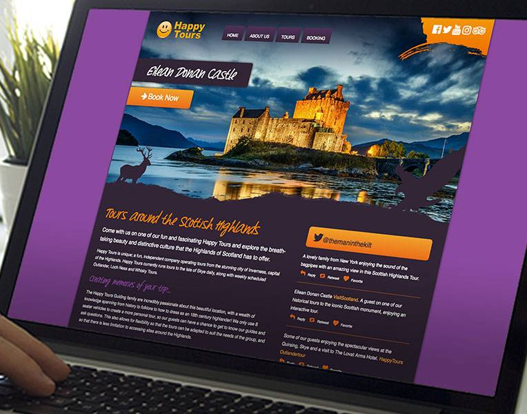 Website Design - Happy Tours - Mockup - Laptop