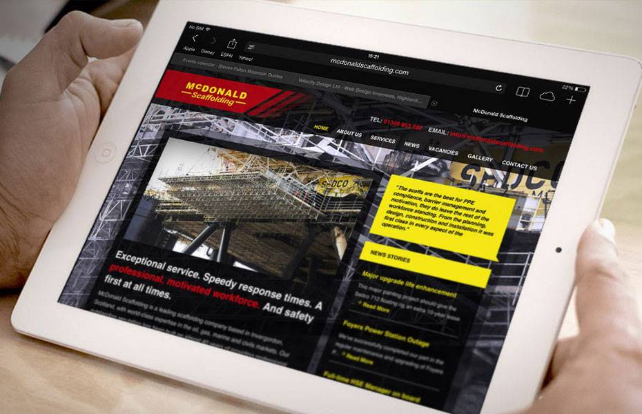 Website Design - McDonald Scaffolding - Mockup - Tablet
